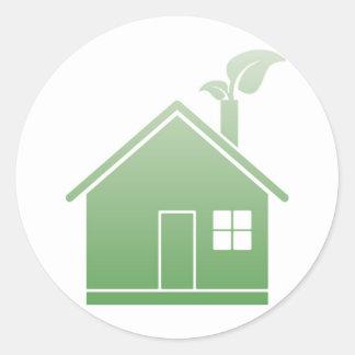 grünes Haus Runde Aufkleber
