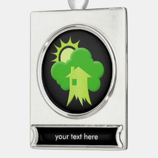 Grünes Haus Banner-Ornament Silber