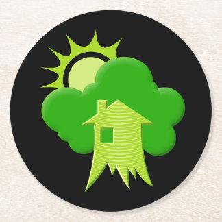 Grünes Haus Runder Pappuntersetzer