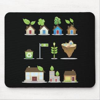 Grünes Haus-Vektor Icons.ai Mauspad