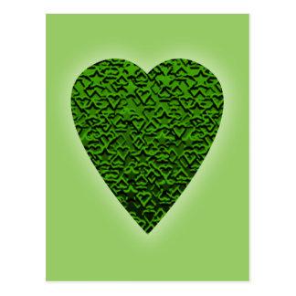 Grünes Herz. Gemusterter Herz-Entwurf Postkarte