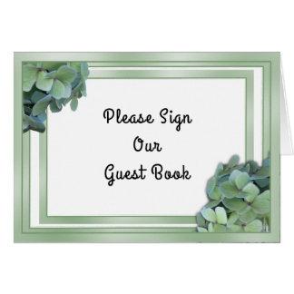 Grünes Hochzeits-Gast-Buch-Tabellen-Zeichen Karte