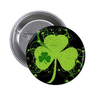 Grünes irisches Kleeblatt Runder Button 5,7 Cm