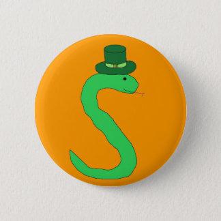 Grünes irisches Schlangen-Button Runder Button 5,7 Cm
