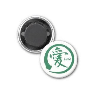 Grünes japanisches Kanjisymbol enso Kreises | für Runder Magnet 3,2 Cm