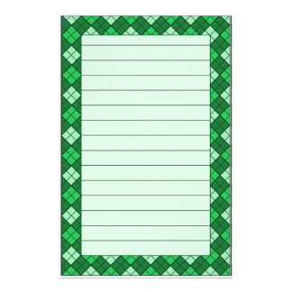Grünes kariertes Briefpapier gezeichnet