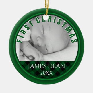 Grünes kariertes des Babys ersten Weihnachtsdes Keramik Ornament