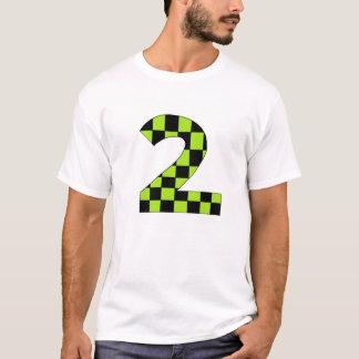 Grünes kariertes Nummer zwei T-Shirt