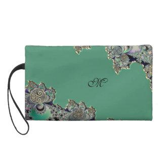 Grünes keltisches Fraktal Wristlet Handtasche