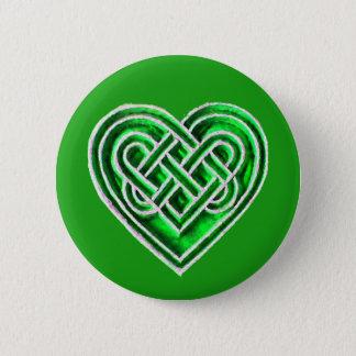 Grünes keltisches Herz - irisches inspiriertes Runder Button 5,7 Cm
