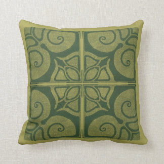 grünes Kissen mit Jugendstil-Ornament