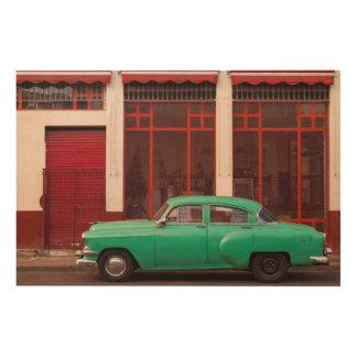 Grünes klassisches Auto, Kuba Holzwanddeko