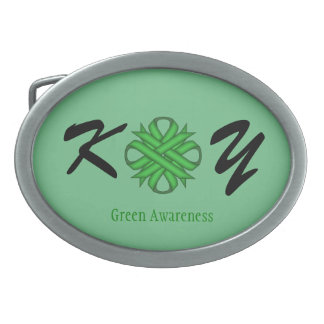 Grünes Klee-Band Ovale Gürtelschnallen