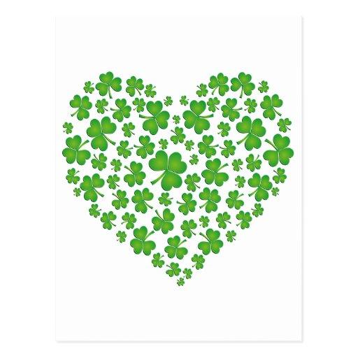 Grünes Kleeblatt-Herz Postkarten