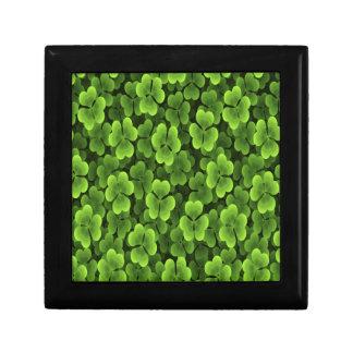 Grünes Kleeblatt-Pflanzen-Muster Schmuckschachtel