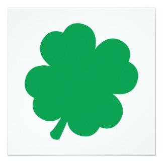 Grünes Kleeblatt Quadratische 13,3 Cm Einladungskarte