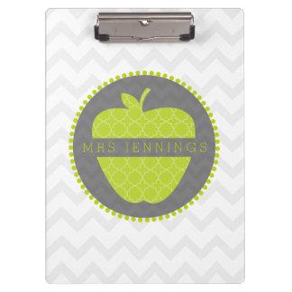 Grünes Lehrer-Klemmbrett Apples Quatrefoil
