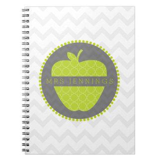 Grünes Lehrer-Notizbuch Apples Quatrefoil Spiral Notizbücher