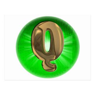 Grünes Licht des TAXI Goldmonogramms Q Postkarte