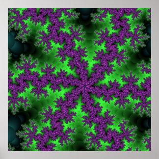 Grünes lila Schneeflocke-Plakat Poster