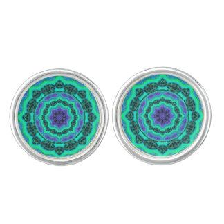 Grünes, lila und blaues Mandala-Muster Manschettenknöpfe