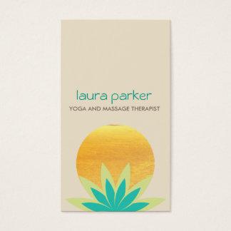 Grünes Lotos-Blumen-Logo-Yoga-heilende Gesundheit Visitenkarten