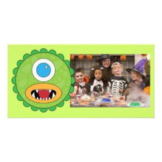 Grünes lustiges Monster Personalisierte Foto Karte