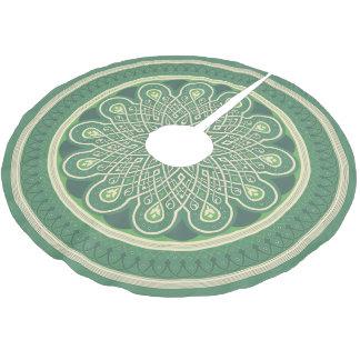 Grünes Medaillon Polyester Weihnachtsbaumdecke