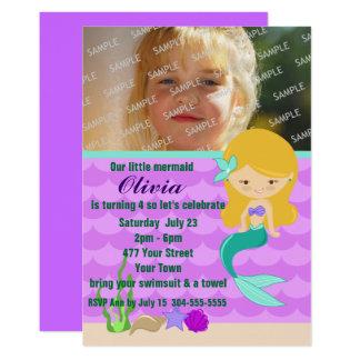 Grünes Meerjungfrau-Pool-Party 12,7 X 17,8 Cm Einladungskarte