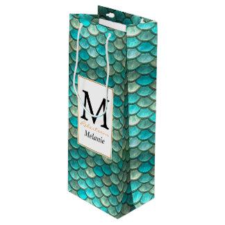 Grünes Meerjungfraufischskalamuster mit Geschenktüte Für Weinflaschen