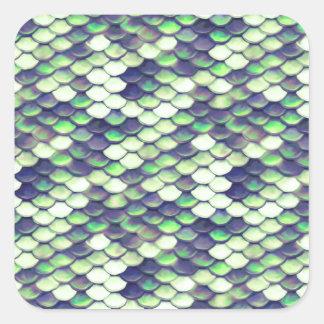 grünes Meerjungfrauhautmuster Quadratischer Aufkleber