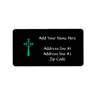 Grünes metallisches keltisches Kreuz Adressaufkleber