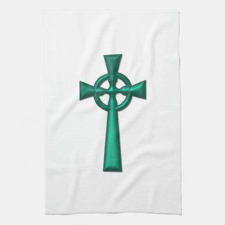 Grünes metallisches keltisches Kreuz Geschirrtuch