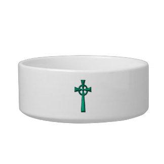 Grünes metallisches keltisches Kreuz Napf