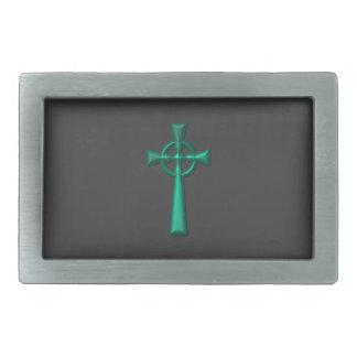 Grünes metallisches keltisches Kreuz Rechteckige Gürtelschnalle