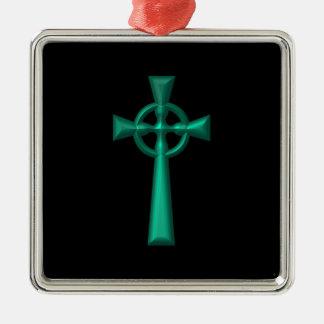 Grünes metallisches keltisches Kreuz Silbernes Ornament