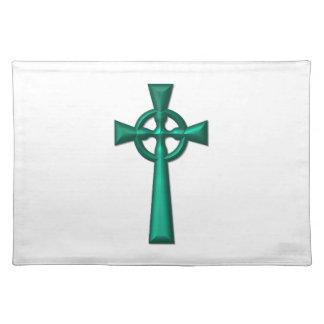 Grünes metallisches keltisches Kreuz Tischset