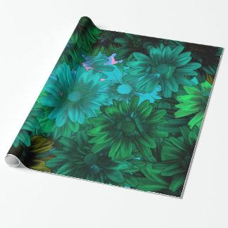 Grünes modernes Blumen Geschenkpapier