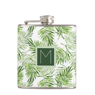 Grünes Monogramm der Palmblatt-| Flachmann