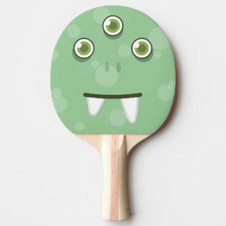 Grünes Monster-Gesichts-Klingeln Pong Paddel Tischtennis Schläger