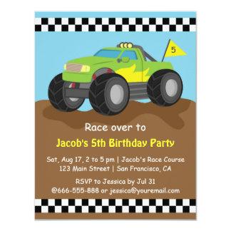 Grünes Monster-LKW-Geburtstags-Party 10,8 X 14 Cm Einladungskarte