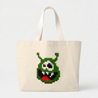 Grünes Monster - Pixel-Kunst Jumbo Stoffbeutel