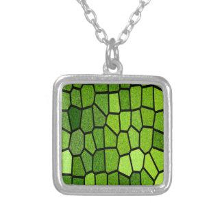 Grünes Mosaik Versilberte Kette