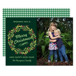 Grünes niedliches Foto des Weihnachtswreath-  12,7 X 17,8 Cm Einladungskarte