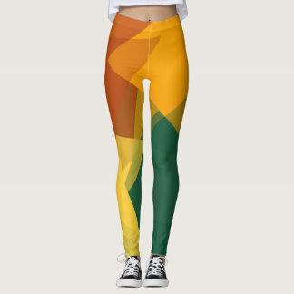 Grünes orange modernes geometrisches Muster Browns Leggings