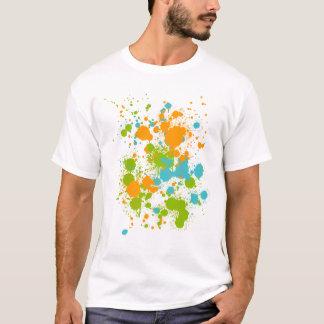 Grünes orange und blaues Farbe Splats T-Shirt