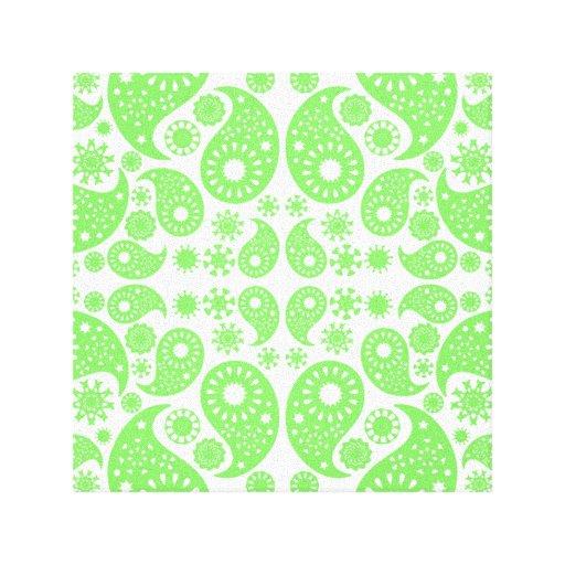 Grünes Paisley Leinwanddruck