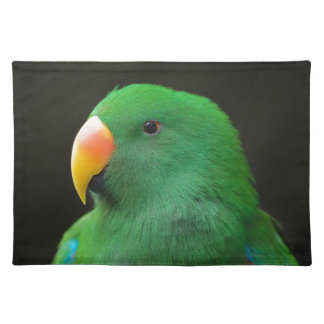 Grünes Papageien-Profil Stofftischset