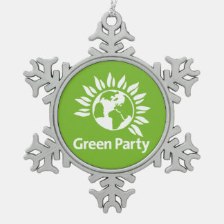 Grünes Party von England und von Wales Schneeflocken Zinn-Ornament