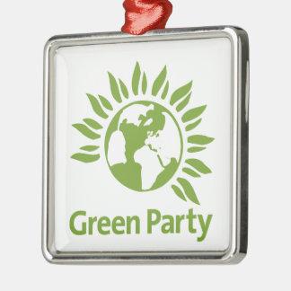 Grünes Party von England und von Wales Silbernes Ornament